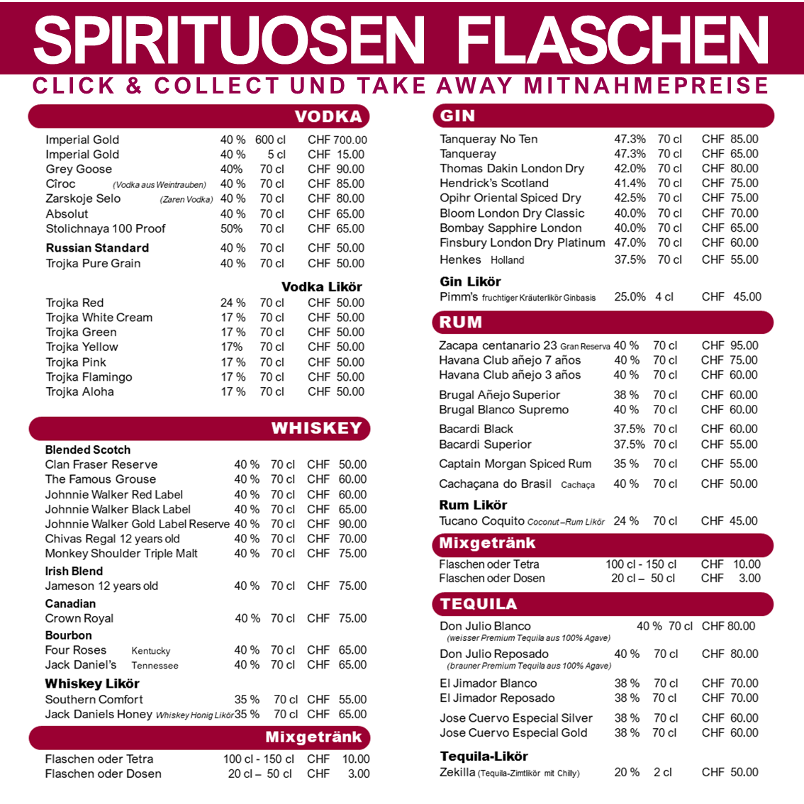 Click & Collect Spirituosen Flaschen Mitnahme-Preise