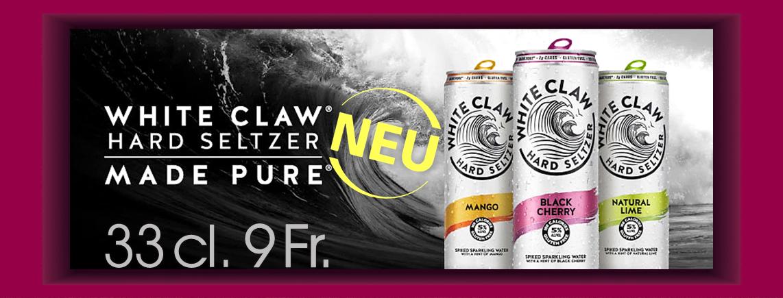"""NEUHEIT """"White Claw"""" 33cl. CHF 9.00"""