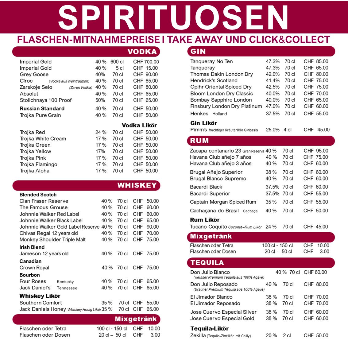 Flaschen-Mitnahme-Preise
