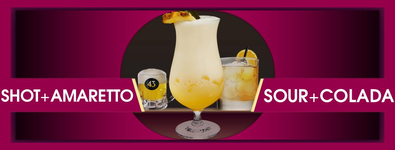 Shots und Classic Cocktails wie Mini Bier, Amaretto Sour, Italian Colada, White Russian+++