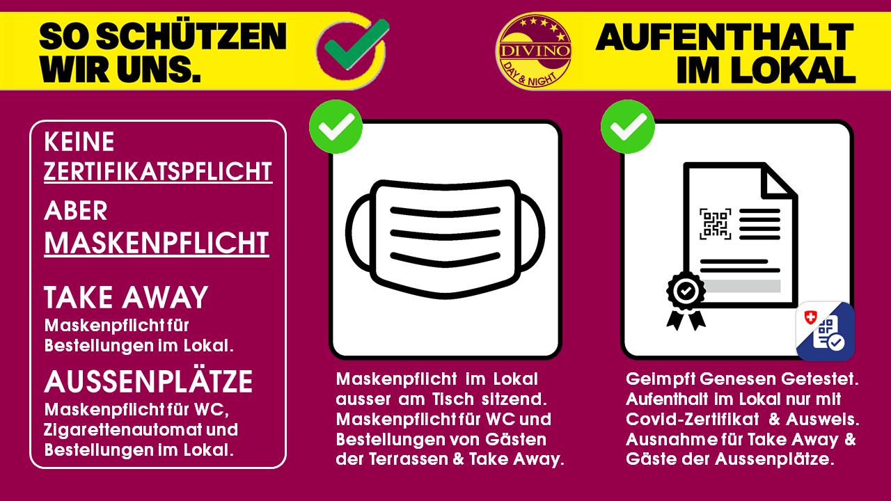 GEMÄSS BUNDESRAT VOM 08.09.2021 - NEU ZERTIFIKATSPFLICHT IN BAR & RESTAURANT INNENRÄUMEN